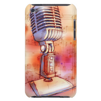 Classic Microphone, watercolor background iPod Touch Covers