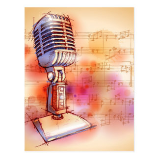 Classic Microphone, watercolor background Postcard