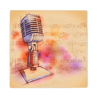 Classic Microphone, watercolor background Wood Coaster