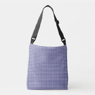 Classic Midnight Blue And White Gingham Pattern Crossbody Bag