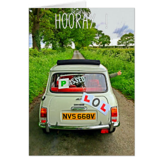 Classic Mini Passed Driving Test Card