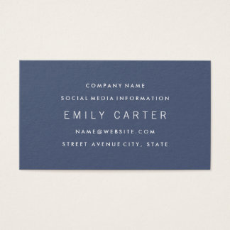 Classic Minimalist Professional Blue Business Card