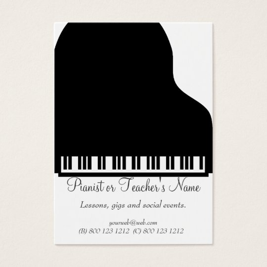Classic Modern Professional Black White Piano Business Card