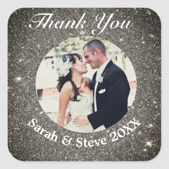 Classic Modern Wedding Photo Thank You Sticker