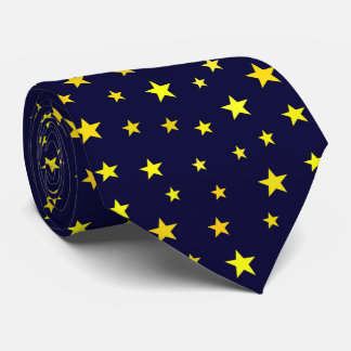 Classic Modern Yellow Stars on Navy Blue Tie