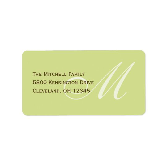 Classic Monogram Address Labels - Lime