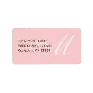 Classic Monogram Address Labels - Pink