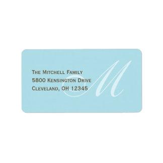 Classic Monogram Address Labels - Soft Blue