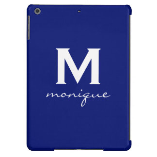 Classic Monogram and Initial Dark Blue and White iPad Air Cover