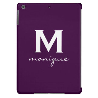Classic Monogram and Initial Dark Purple and White Case For iPad Air