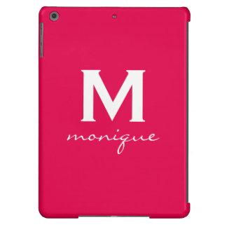Classic Monogram and Initial Fuchsia and White iPad Air Cases