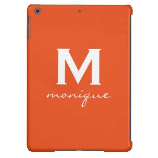 Classic Monogram and Initial Orange and White iPad Air Cover
