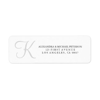 Classic Monogram in Gray Return Address Label