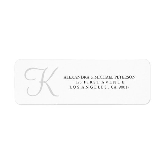 Classic Monogram in Grey Return Address Label