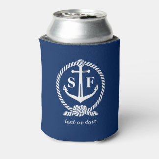 Classic Monogram Nautical Blue Anchor Beach Boat Can Cooler