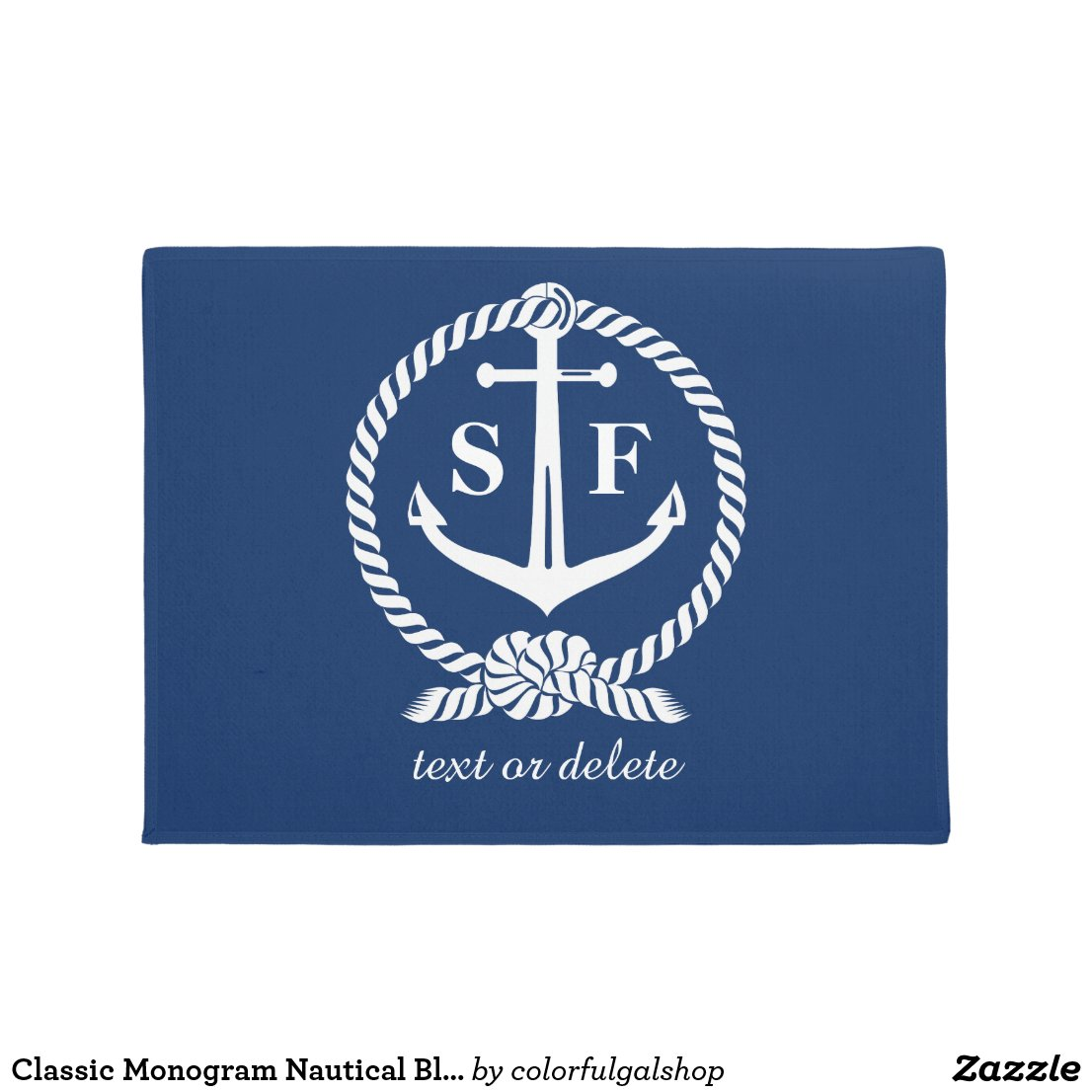 Classic Monogram Nautical Blue Anchor Beach Boat Doormat