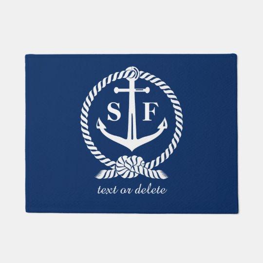 Classic Monogram Nautical Blue Anchor Beach Boat Doormat