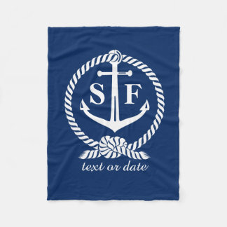 Classic Monogram Nautical Blue Anchor Beach Boat Fleece Blanket
