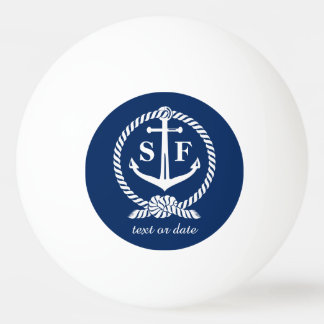 Classic Monogram Nautical Blue Anchor Beach Boat Ping Pong Ball