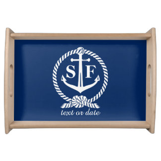 Classic Monogram Nautical Blue Anchor Beach Boat Serving Tray