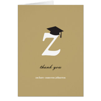 Classic Monogram Z Graduation Photo Thank You Card