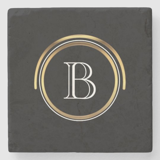 Classic Monogrammed Initial | Elegant Black Gold Stone