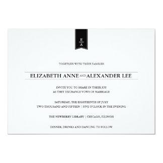 Classic Monograms Black & White Wedding Invitation