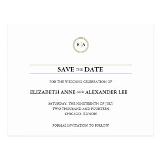 Classic Monograms Gold Save the Date Postcard
