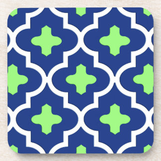Classic Moroccan Tile, Cobalt Blue and Lime Coasters