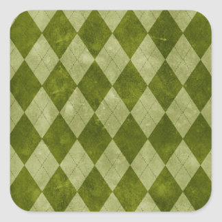 Classic Mossy Green Argyle Geometric Pattern Square Sticker