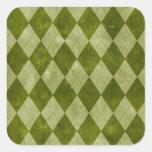 Classic Mossy Green Argyle Geometric Pattern Square Sticker