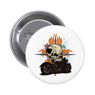 Classic Motorcycle Skull With Paint Splashes 6 Cm Round Badge