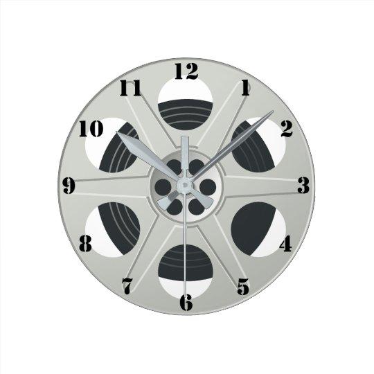 CLASSIC MOVIE REEL (WITH BLACK NUMERALS) ROUND CLOCK