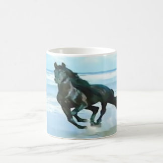 classic mug white with solid black horse