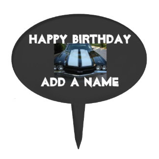 Classic Muscle Car Happy Birthday Cake Pick