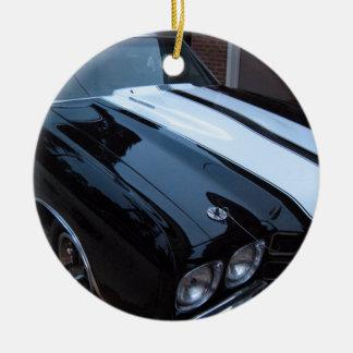Classic Muscle Car Round Ceramic Decoration