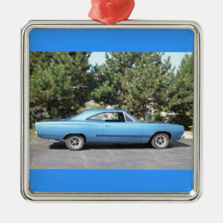 Classic Muscle Car Silver-Colored Square Decoration