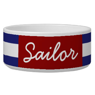 Classic Nautical Blue and White Stripe Personalize