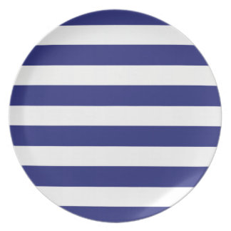 Classic Nautical Blue and White Stripe Personalize Dinner Plates