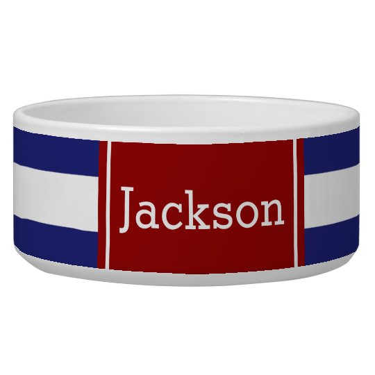 Classic Nautical Blue and White Stripe With Red Dog Bowl