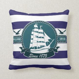 Classic Nautical Blue White stripes Cushions