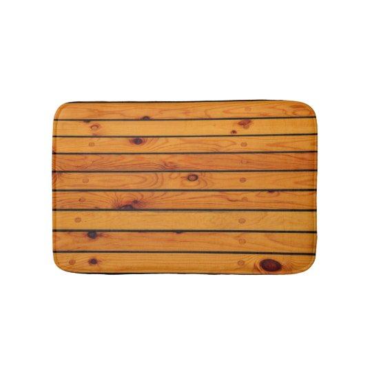 Classic nautical brown wooden shipdeck bath mats