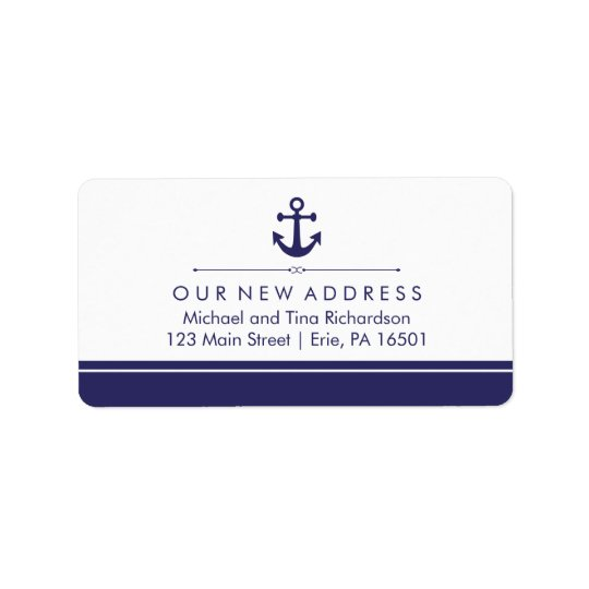 Classic Nautical New Address with Navy Blue Anchor Address Label