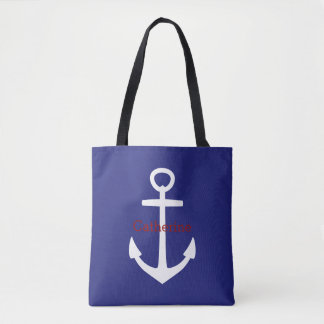 Classic Nautical White Anchor on Blue Personalized Tote Bag