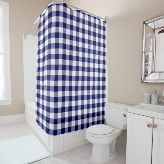Classic Navy and White Gingham Pattern Shower Curtain