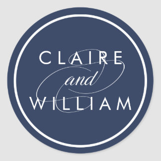 Classic Navy and White Personalized Wedding Round Sticker