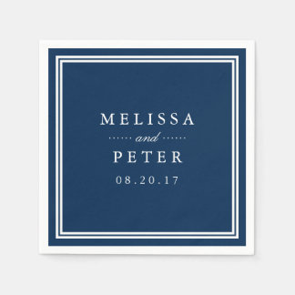 Classic Navy and White Wedding Disposable Serviette
