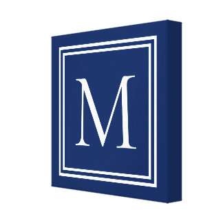 Classic Navy Blue and White Double Frame Monogram Canvas Print