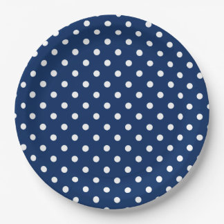 Classic Navy Blue and White Polka Dot 9 Inch Paper Plate