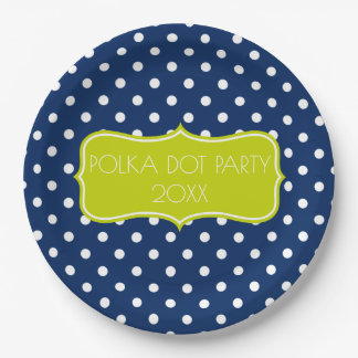 Classic Navy Blue and White Polka Dot Personalized Paper Plate